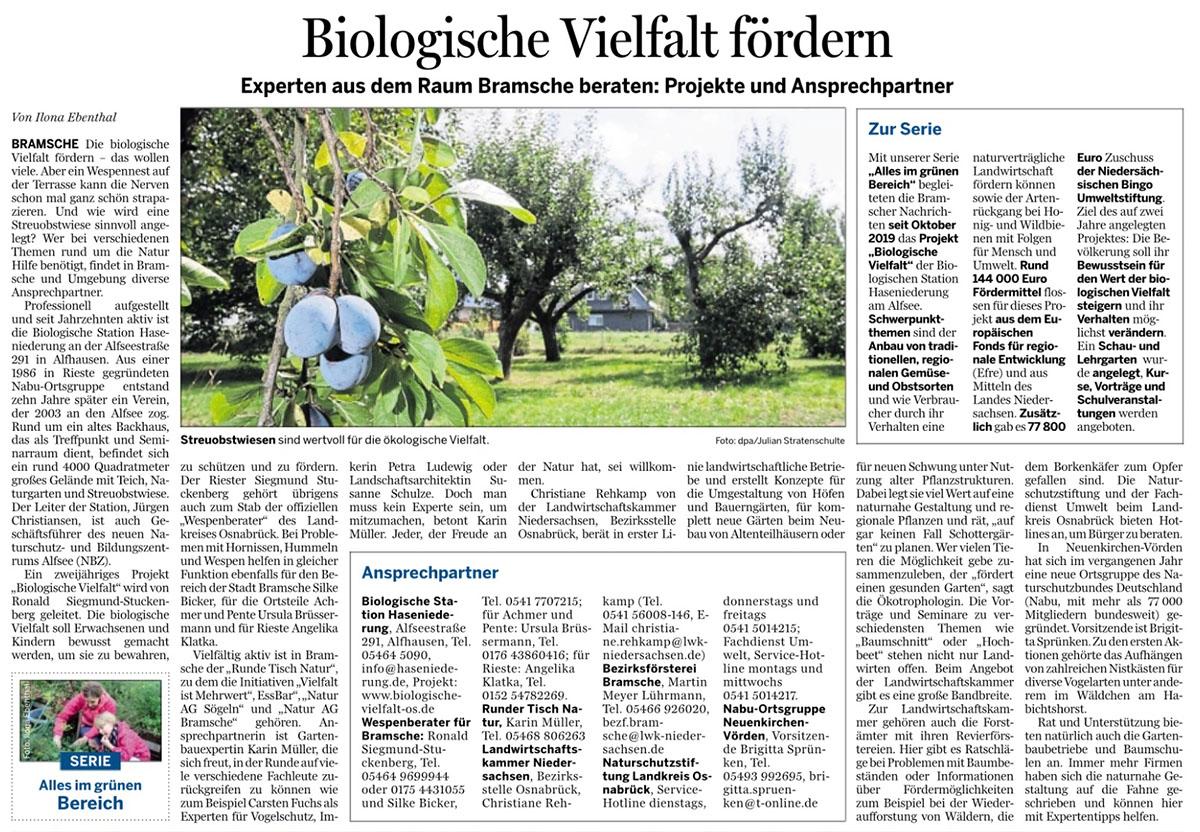 zeitungsartikel zu Biologische Vielfalt, Ansprechpartner für die Region